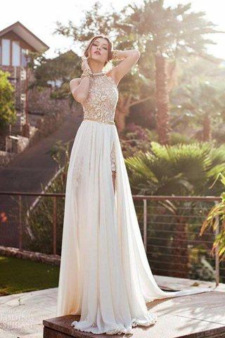 Robe de mariée naturel manche nulle avec chiffon a-ligne dénudé - photo 1