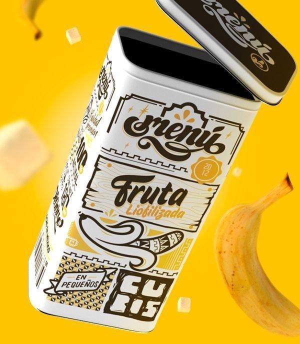 Freeze Dried Fruit Packaging design Originally posted at https://www.behance.net/gallery/16779497/MENU-FRUIT #packaging #design #fruit #typo