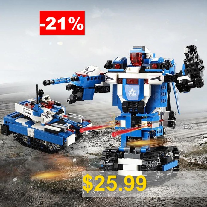 CaDA #C51038 #604PCS #2 #in #1 #DIY #Building #Blocks #Intelligent #Induction #Blasting #Robot #Tank #Model #Toy