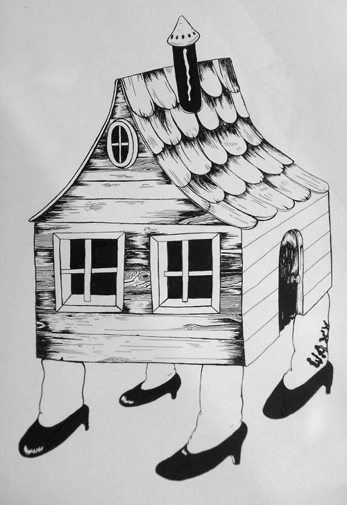 new drawing i just finished. india ink on bfk #ink #white #house #book #black #comic #illustration #heels #art #and #painting #tattoos #pen #drawing #high