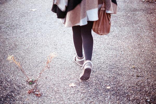 Eva's back. #film #analog #girl #france #back #grain #street #feet