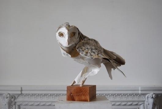 Anna Wili Highfield Paper Sculpture Copper Pipe Sculpture #sculpture #paper #owl