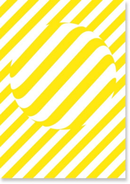 Dot by Studio Makgill #white #stripes #yellow #pill #poster