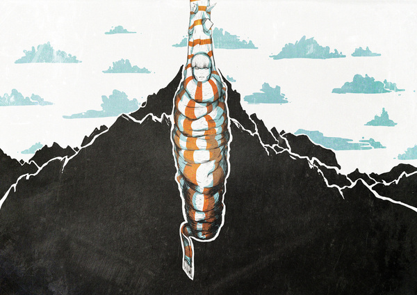 Illustrations on the Behance Network #illustration #hanging #mountains #cocoon