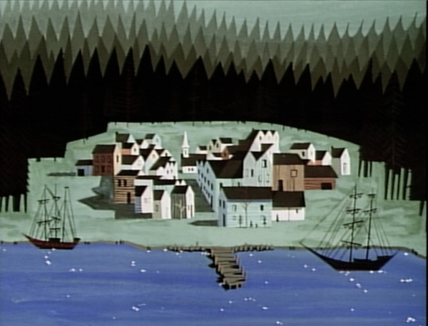 Scene from Disney's Paul Bunyan, styled by Eyvind Earle and Walt Peregoy