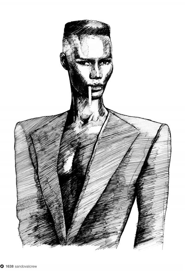 GJ on Dropula The inspirational catalogue #album #ink #jones #cigarette #grace #black #cover #illustration #art #fashion #skin #style