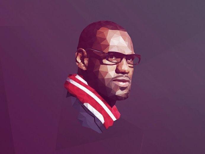 LeBron james Low poly #polygon #heat #lebron #james #portrait #polygonal #basketball #miami