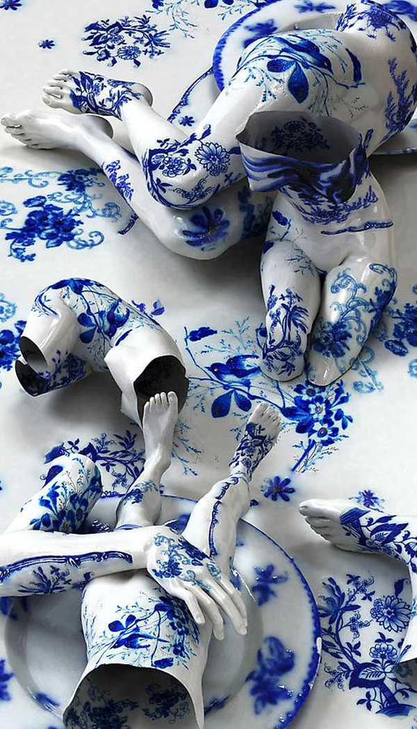 Porcelain Tattoos by Kim Joon #sculpture #joon #porcelain #kim #tattoos #broken #blue