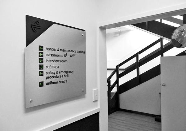 Best Awards - Designworks Auckland. / Aviation Institute #steel #carbon #sign #stainless #signage #fiber
