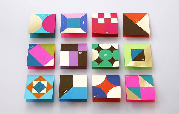 BLOW | Astrobrights Thank You Card #you #card #geometric #colorful #square #thank