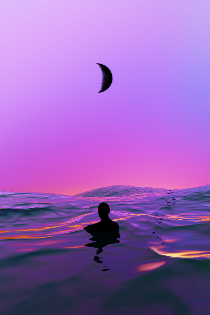 Lost Swimmer Artwork by Quentin Deronzier #artwork #ocean #sea #waves #lost #man #purple #pink #moon #dreamy #water #sky
