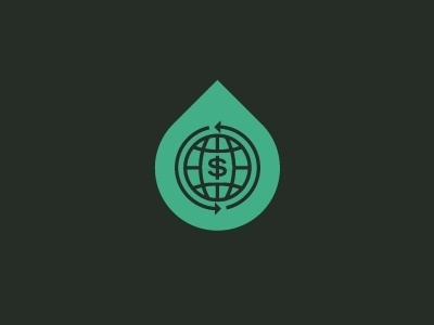 Dribbble - GBI Icon by Nick Brue #line #globe #dollar #world #monoweight #drop #symbol #aqua #teal #green