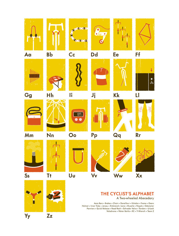 Image of The Cyclist's Alphabet #bicycle #poster
