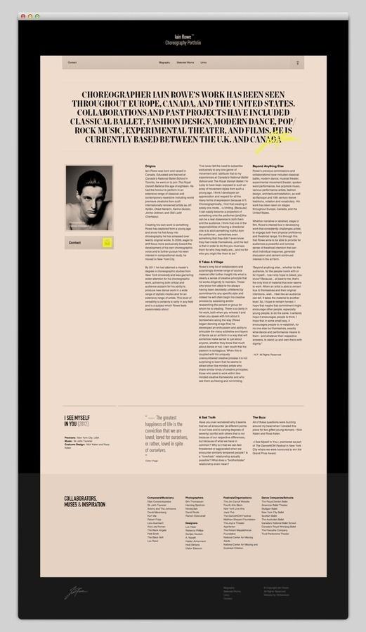 Iain Rowe #website #layout #design #web