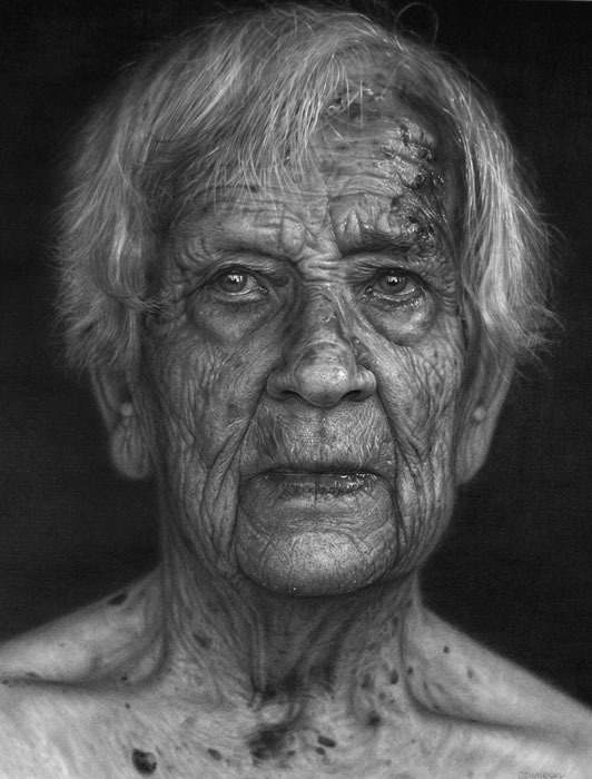 Realistic pencil drawings old white woman drawing black elderly