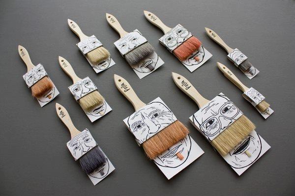 Proyecto del canadiense Simon Laliberté, pack para brochas Poilus #packaging #brush #moustache