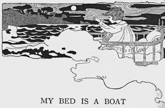 All sizes | My bed is a boat | Flickr - Photo Sharing! #white #child #book #black #illustration #sea #boat #verse
