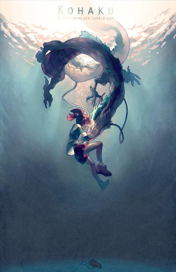 Kohaku by ~Yaphleen on deviantART #spirited #ghibli #illustration #painting #spirit #away #underwater