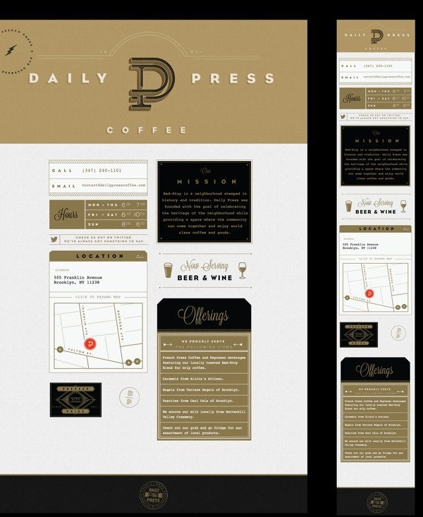 Daily Press Identity on Behance #coffee #gold