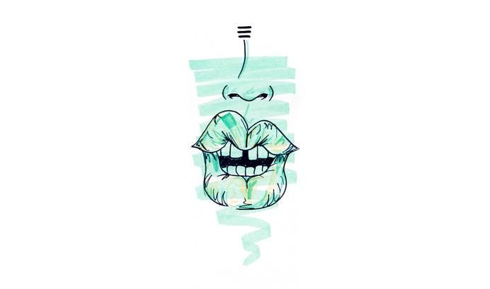 #14 / flawless / 230314 by Chiamaka Ojechi #illustration #pastel #lips #markers #minimal #flaws #mintgreen