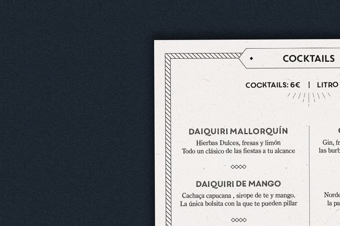 Branding y diseño menú Made by Gelpi Arlequín Cocktail Bar