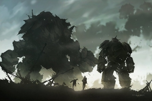Golem vs Mech by =keepwalking07 on deviantART #digital #concept #painting #art