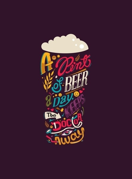 "Typeverything.com - ""A pint of beer a day. Keeps... - Typeverything #lettering #typography"