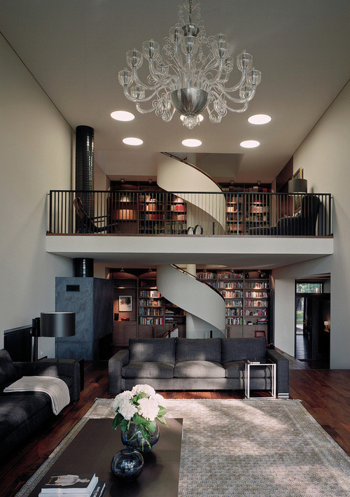 CJWHO ™ (House with a spiral staircase by Tsimailo...) #staircase #spiral #interiors #wood #library #moscow #russia #luxury