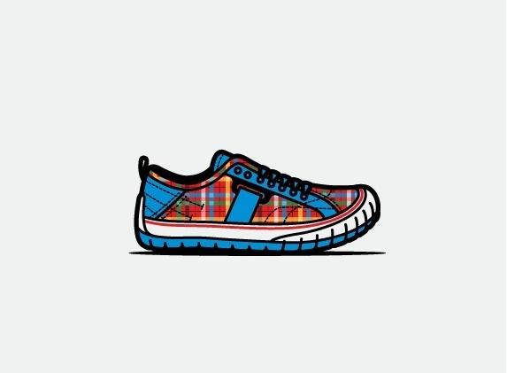 mkn design Michael Nÿkamp #pattern #plaid #shoe #wolverine #illustration #blue #style #footwear
