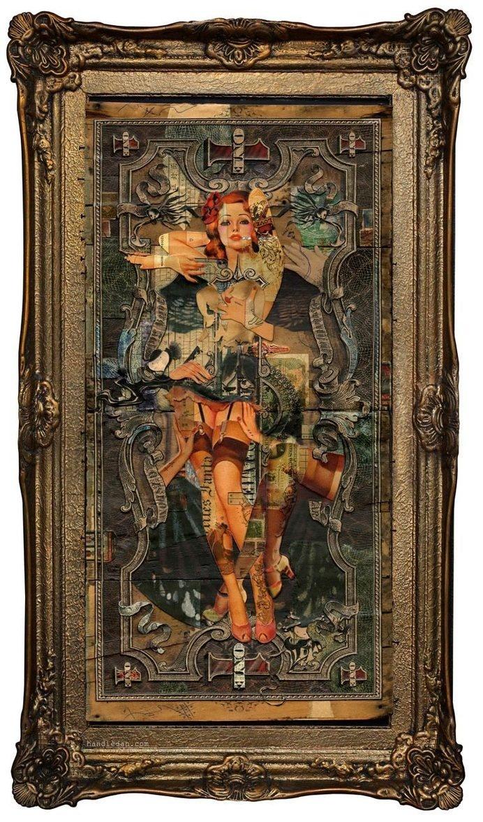 Handiedan #collage #money #pinup #ornate #frame