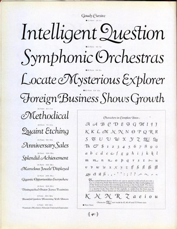Goudy Cursive type specimen #type #specimen #typography