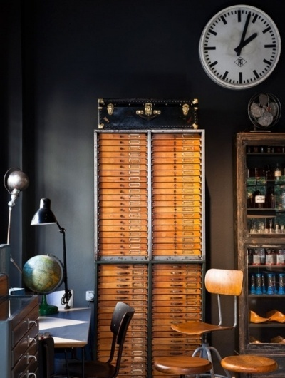 Old school explorers styled office - The Black Workshop #interior #design #decoration #deco