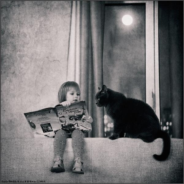 Little Girl and Her Cat #cat #girl
