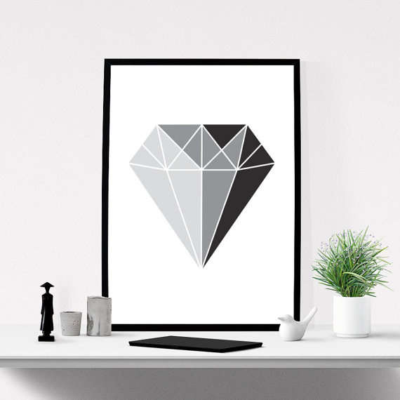 Printable Wall Art of Diamond Graphic Print.