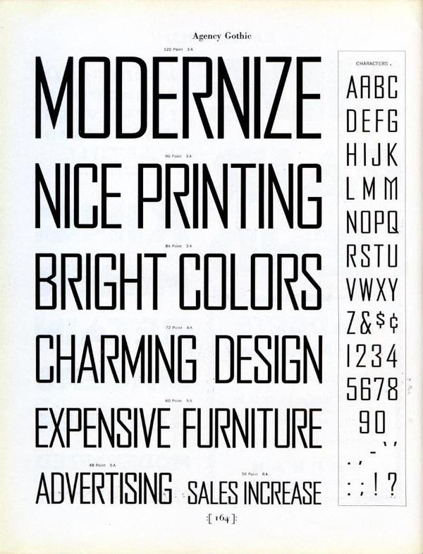Agency Gothic type specimen #type #specimen #benton