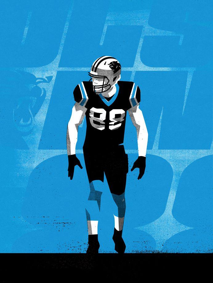 OLSEN88 #Illustration by Matt Stevens #Sports #NFL #Carolina #Panthers #American #Football
