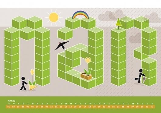 Calendario Algoritmo 2012 on the Behance Network #2012 #calendar #march #illustration #rain #spring #green