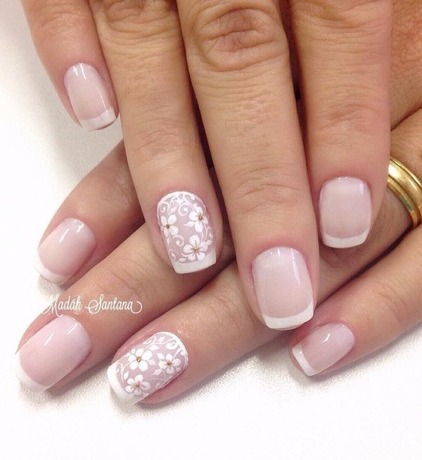 Best Nail Nude Floral Details French Images On Designspiration