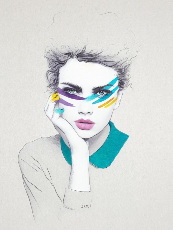 """War Paint Sally"" Jenny Liz Rome 2014 #illustration"