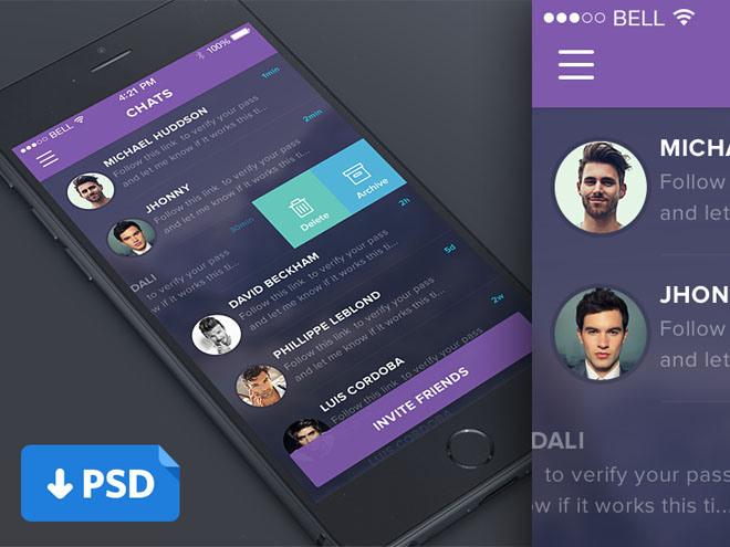 Chat App UI PSD