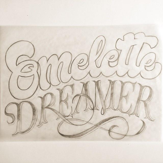 Omelette Dreamer by Adria Molins Design Barcelona - https://www.behance.net/adriamolins #calligraphy #lettering #dream #sweet #adria #adriamolins #grey #barcelona #type #molins #pencil #sketch #typography