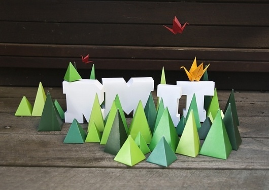 Promotional Postcards on the Behance Network #cut #mountains #paper #typography