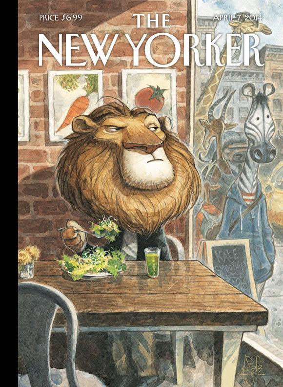 """The New Yorker, Cover - """"A New Leaf"""" by Peter de Sève #leaf #instinct #big #cat #yorker #illustration #zebra #king #new #lion #design #of #predator #prey #salad #jungle #animal #diet #pride #the #art"""
