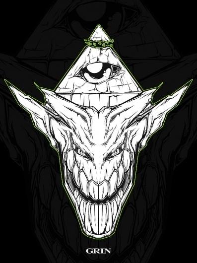 GRIN on the Behance Network #vector #black #derek #gangi #illustration #grin #skull