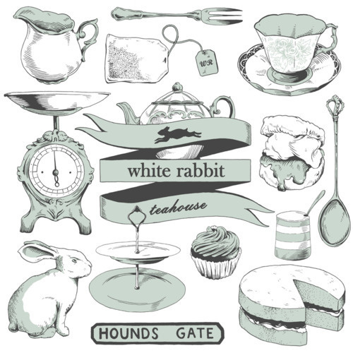 Illustrations for my good friends Tom and Fran, for their teahouse tote bags.nhttp://whiterabbitteahouse.com/ #in #wonderland #alice