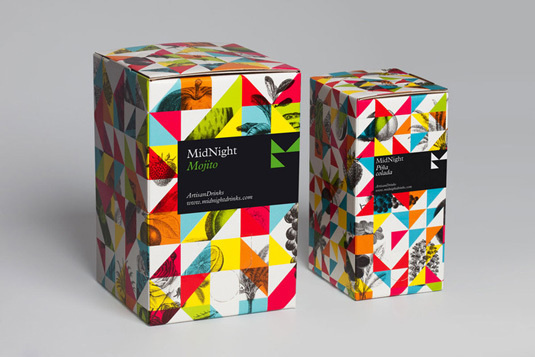Midnight Drinks #packaging #color #box #label #geometric