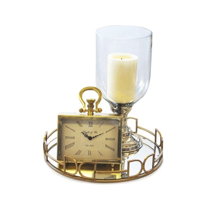 Gold Buckle Mirror Tray 42cm
