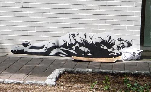 homeless7 #urban #political #cut #cardboard #installation #city #banksy #paint #art #street #spray