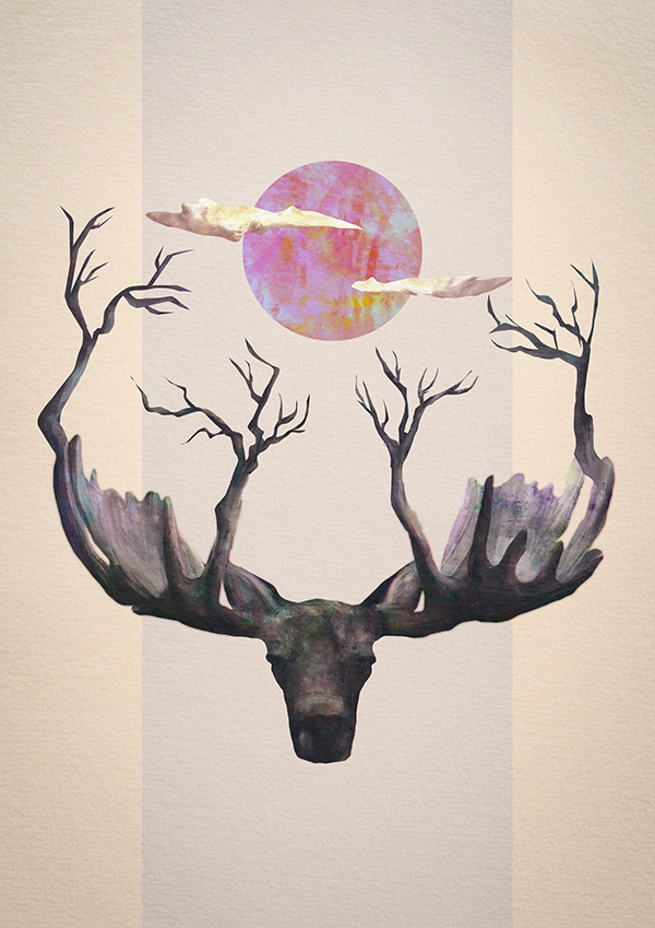 Reborn on Behance #clouds #stag #illustration #strange #art #collage #trees #moon