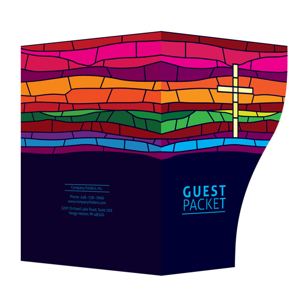 Stained Glass Church Guest Packet Folder Template #cross #church #jesus #template #christian